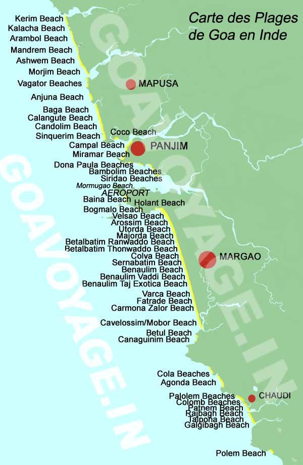Carte des plages de Goa en Inde