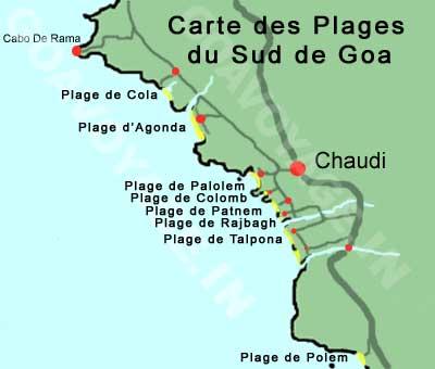 Carte des plages du sud de Goa