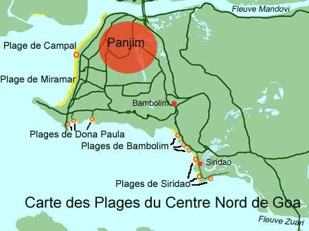 Carte des plages du centre nord de goa