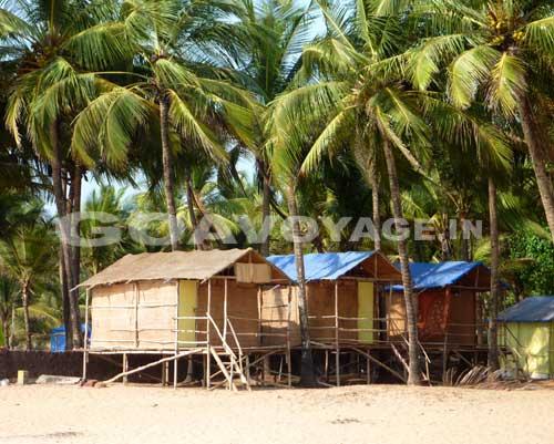 huts on stilts in Agonda Beach in india