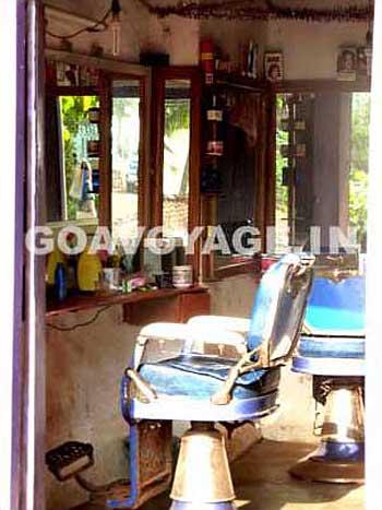 seats in a barbershop in anjuna north goa india