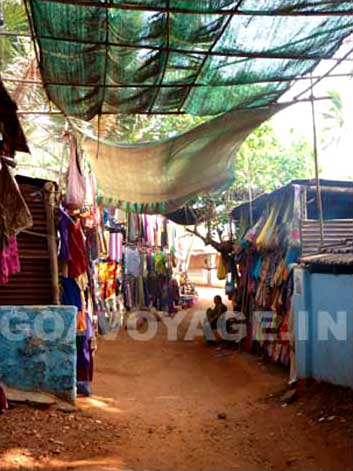 a covered lane in Anjuna, north Goa, India