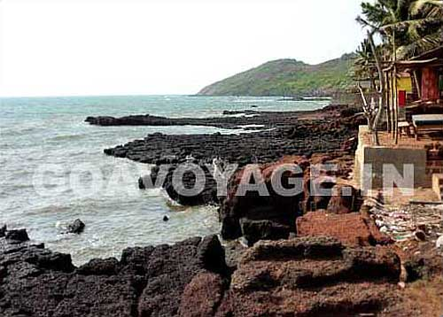rocky seashore of the north part of Anjuna, north Goa, India
