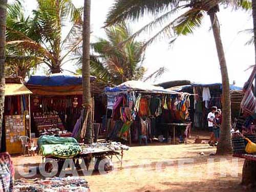 tourist stalls in Anjuna, north Goa, India