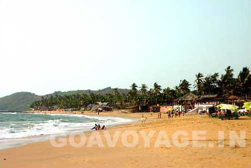 view of anjuna beach from the south
