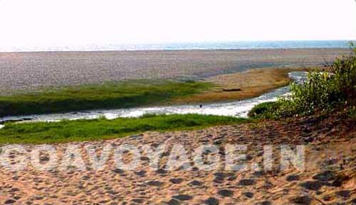 water stream ending in Arossim beach south goa India