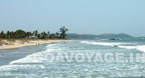 the sea in Ashwem beach north goa India