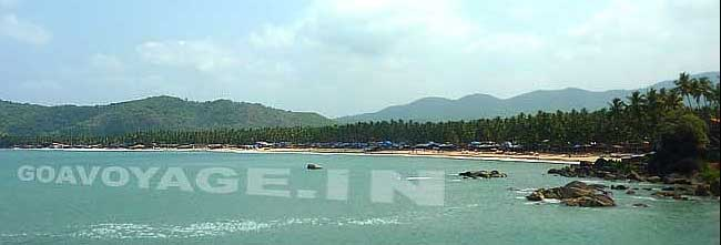 Overview of Palolem beach in South Goa India