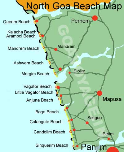 map of the beaches of north Goa India