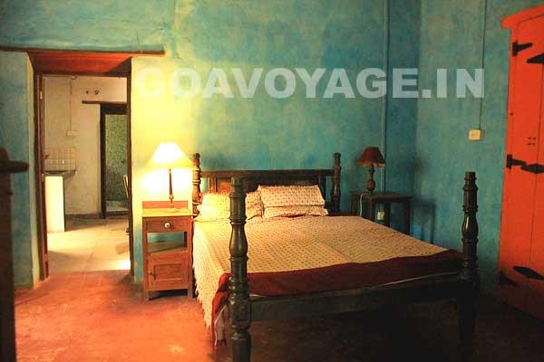 Vue de la chambre dans la partie à louer, Villa Clemente, sud Goa, Inde