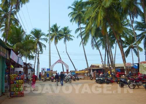 main access of Palolem beach in South Goa, India