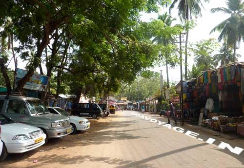 Main street in Palolem, South Goa, India