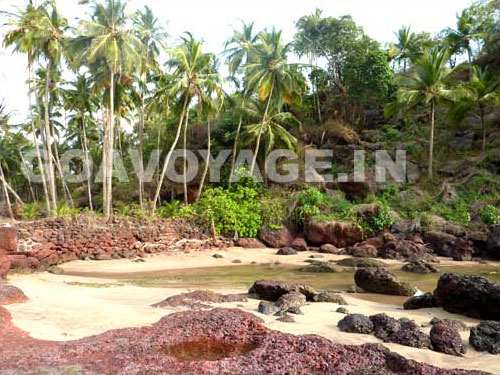 View of the small beach south of Canaguinim main beach, South Goa, India