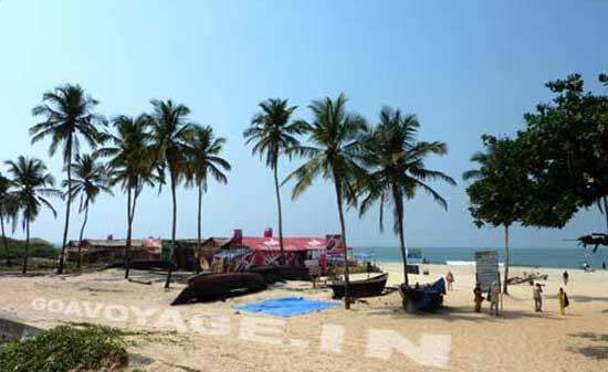 Shacks on the beach of Colva, in South Goa, India