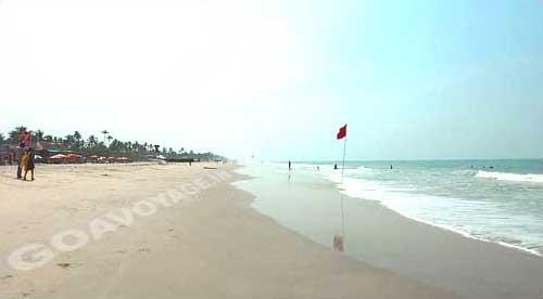View towards south of Colva beach, South Goa, India